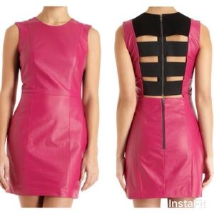Michelle Mason Pink LEATHER Mini Dress Elastic 0 2